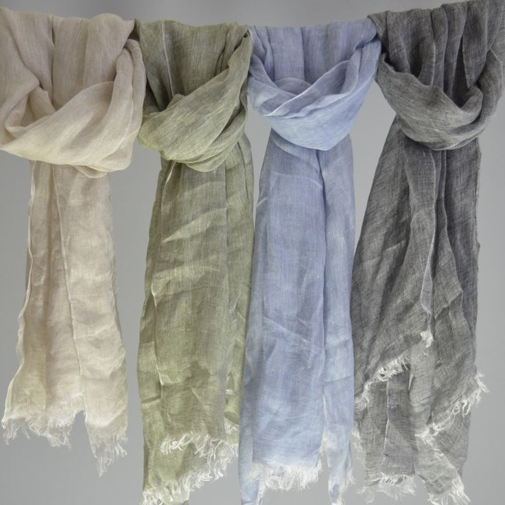 100% French Linen Fringed Scarf in Natural, Summer Sky, Tropical Green & Dusk