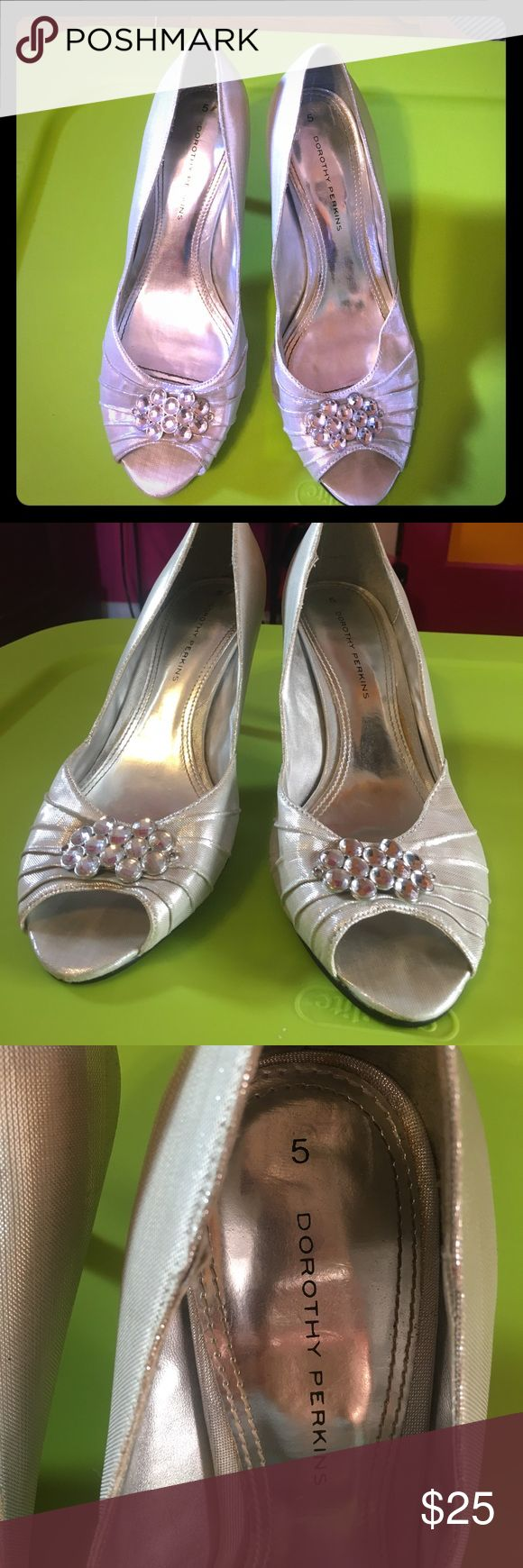 Beautiful Gemstone Silver Heels from the UK Bought these gorgeous heels from Harrod's in London, England. Worn once for prom. Size is 8 US and 5 UK. Great condition and looks like Cinderella heels! Make me an offer :) Dorothy Perkins Shoes Heels