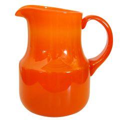 Vintage Swedish Orange Art Glass Pitcher by Erik Höglund, Boda