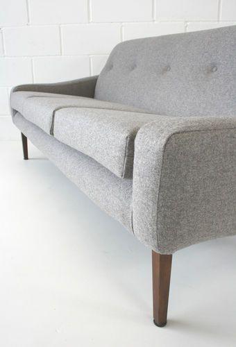 Vintage Restored 1960s Grey Wool Retro Sofa   eBay