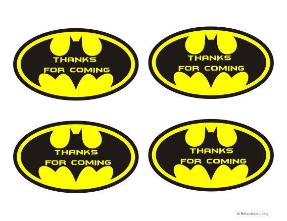 Batman party favor thank you printable