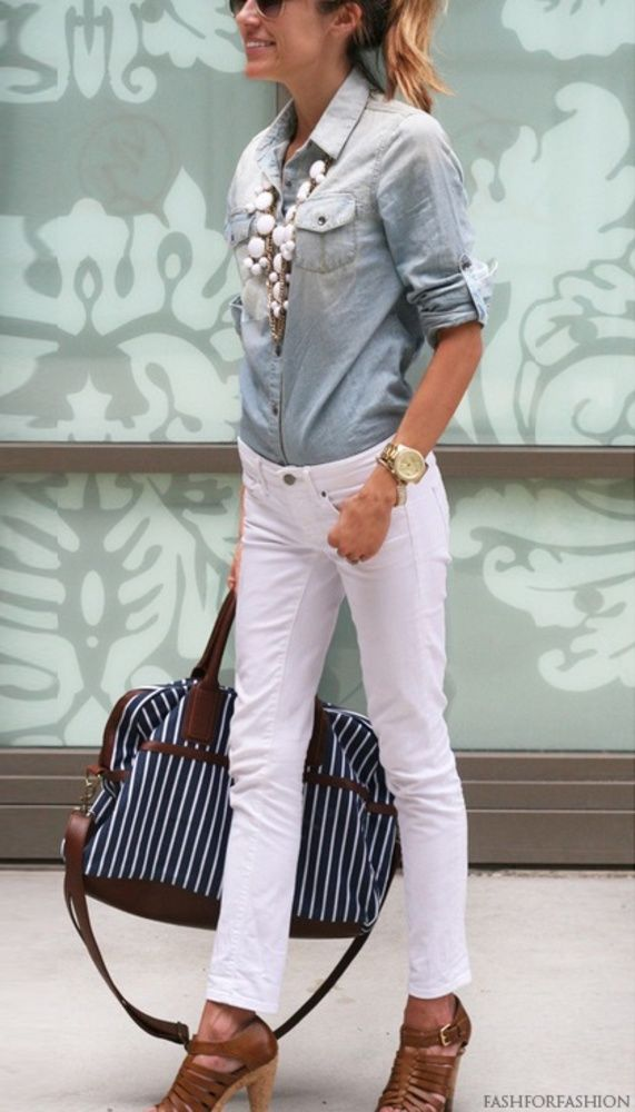 How to style & wear White Jeans ((love the white w/ chambray & white bubble necklace!))