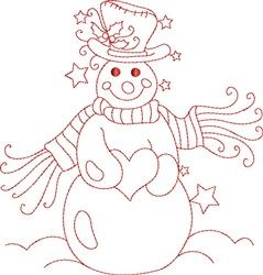 Redwork Snowman embroidery design can be used on all medias including gourds
