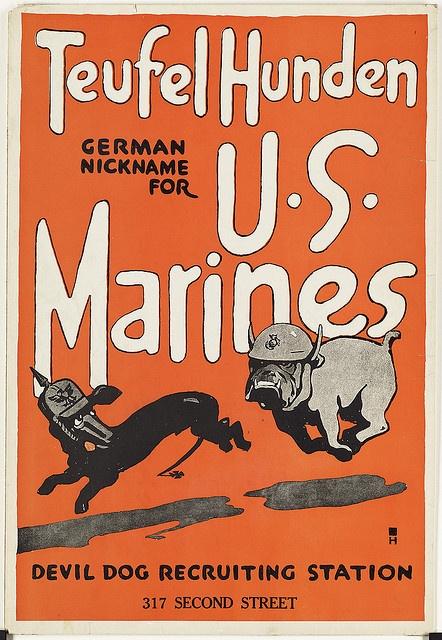 Teufel hunden. German nickname for U.S. Marines. Devil dog recruiting station by Boston Public Library, via Flickr