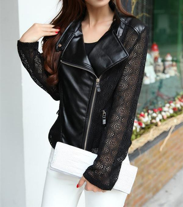Hollow Out Solid Color Zipper Faux Leather Jacket, BLACK, M in Jackets & Coats | DressLily.com