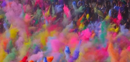 Go to Holi Festival.(Hindi: होली) Is a religious spring festival celebrated by Hindus, as a festival of colors. It is primarily observed in India and Nepal.
