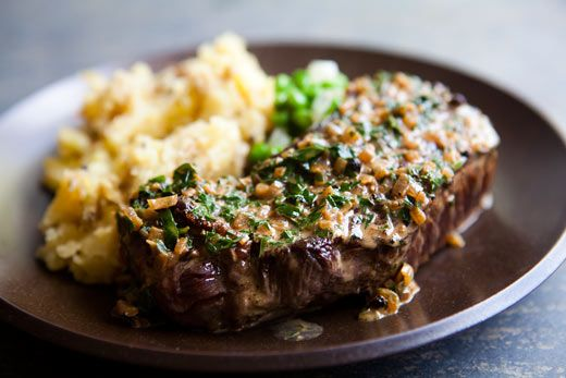 Peppercorn Steak Recipe Main Dishes with steak, salt, grapeseed oil, black peppercorns, shallots, cognac, beef broth, heavy cream, chopped parsley