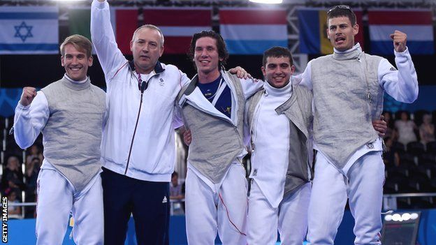 British fencers celebrate, Baku 2015 European Games Team Foil Gold