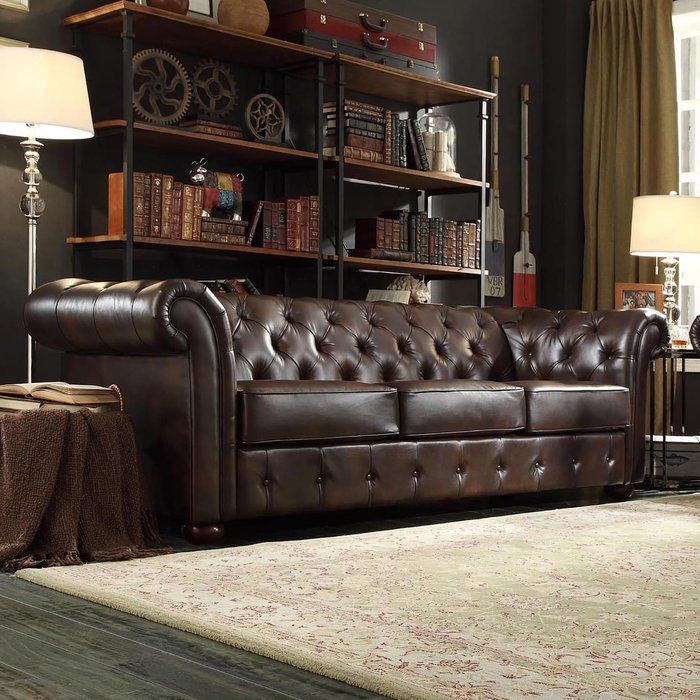 Vegard Tufted Chesterfield Sofa Canape Cuir Marron Canape En Cuir Decoration Meuble