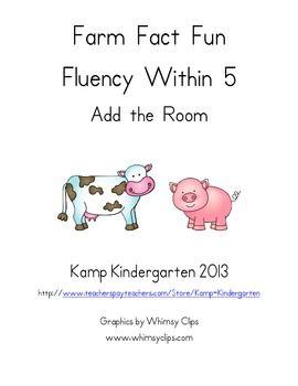 Farm Fact Fun Fluency Within 5 Add the Room  $  http://www.teacherspayteachers.com/Product/Farm-Fact-Fun-Fluency-Within-5-Add-the-Room-792976