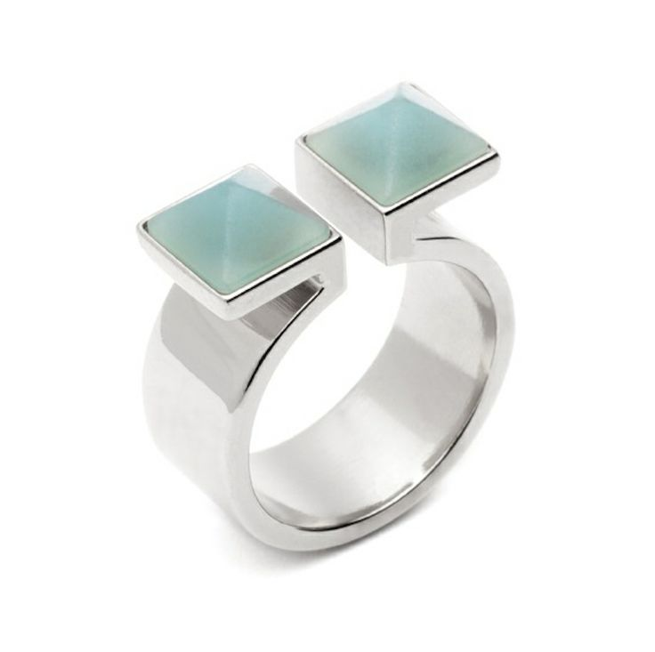The Creator ring - $79. Thick banded open ring crafted in bronze and coated with silver plating; with dual hand-carved amazonite stone inlay detail.  Lovingly designed by Sydney label Amber Sceats. www.savethelastpinker.com.au/shop/creator-ring/