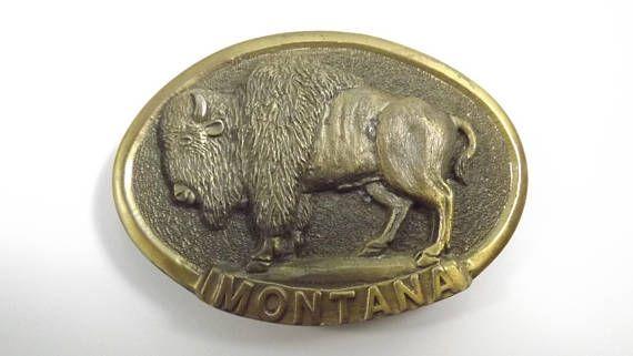 Vintage Bison Collectible Belt Buckle Montana Buffalo Buckle
