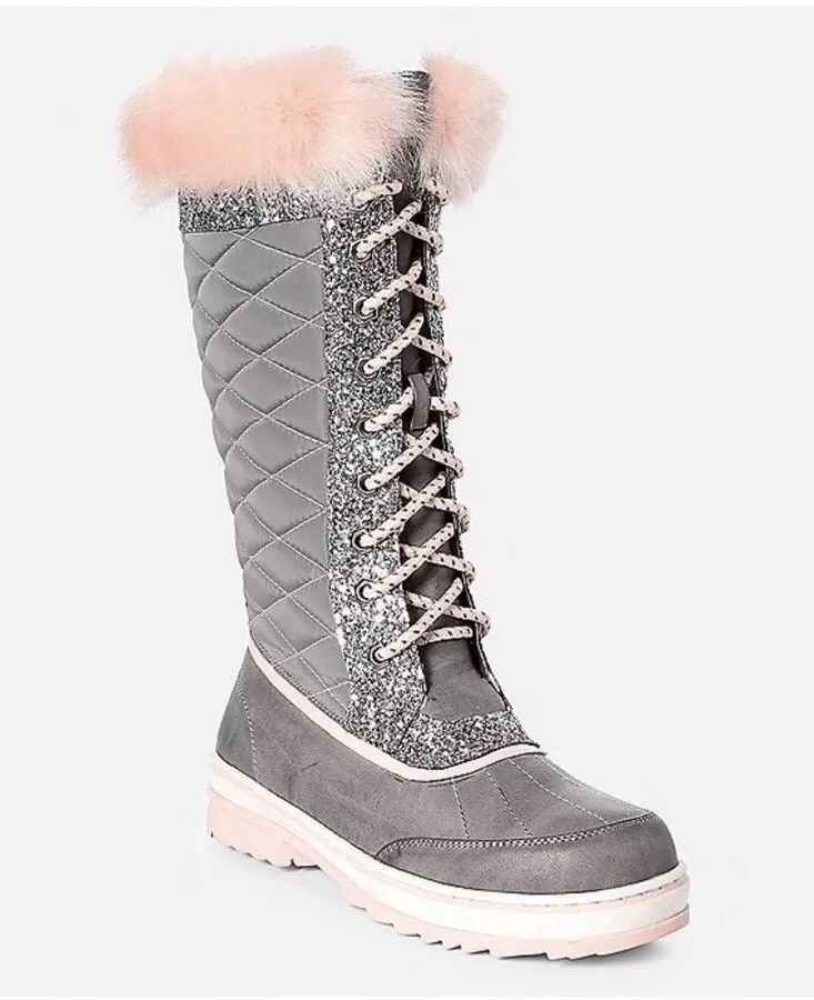 New Justice For Girls Pink Gray Sparkle Winter Snow Boots Msrp 49 99 Fashion Clothing Shoes Acc Girls Snow Boots Trendy Winter Fashion Winter Fashion Snow