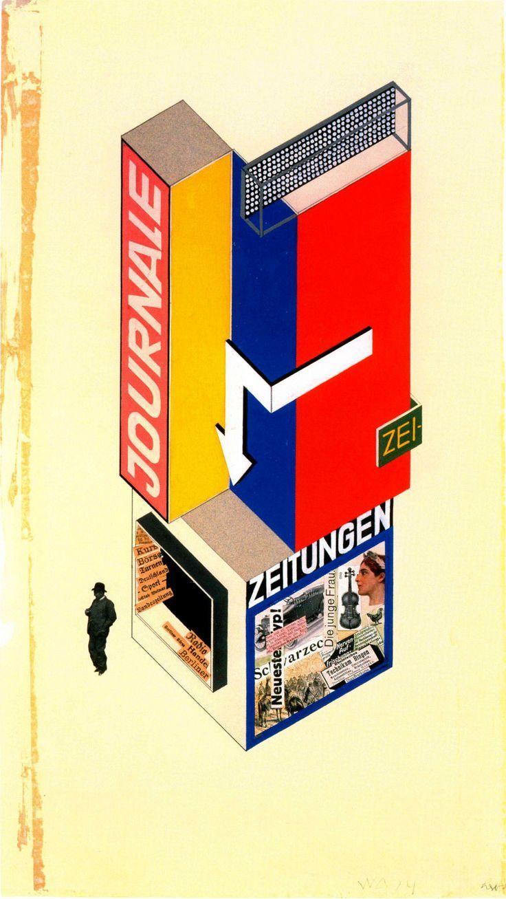 The School of Bauhaus/ Herbert Bayer, design-kiosque-a-journaux-1924