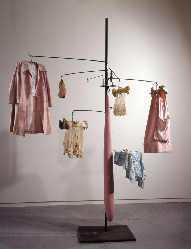 Louise Bourgeois - Pink Days and Blue Days, 1997. Steel, fabric, bone, wood, glass, rubber and mixed media.