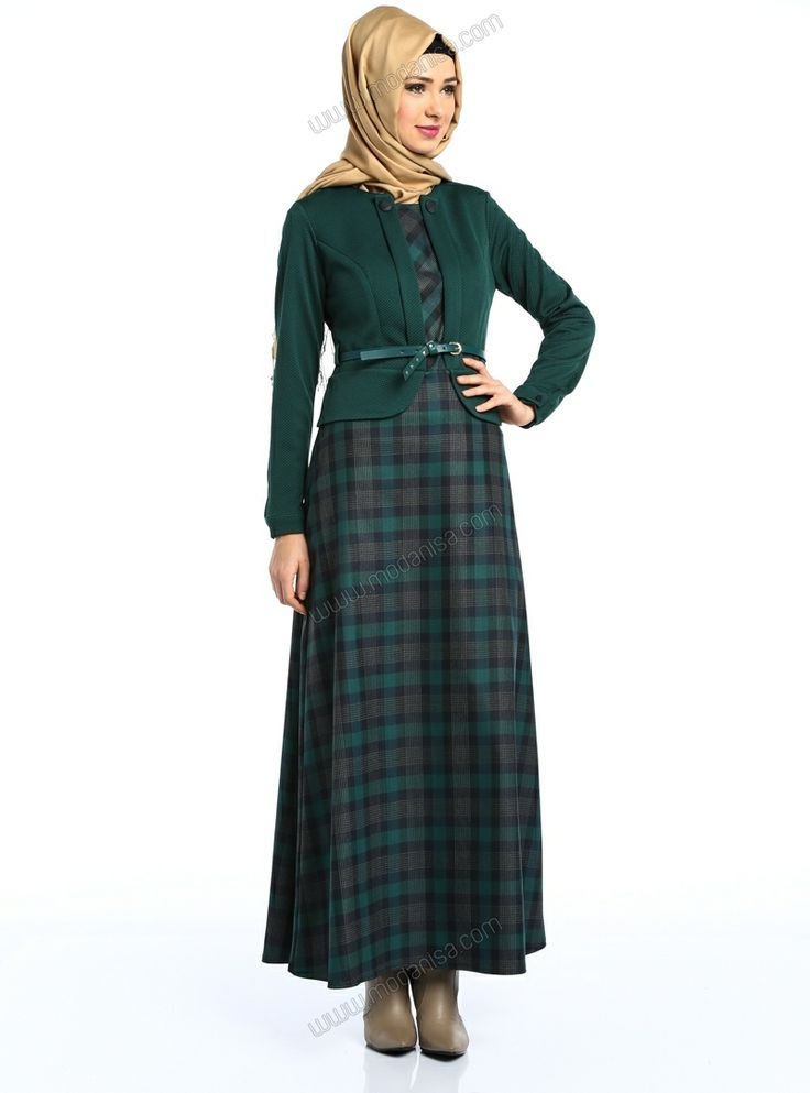 Eteği Ekoseli Elbise 4526 - Lacivert