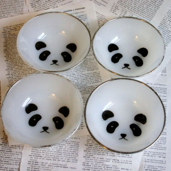 Panda Face silver rimmed bowl set of 4 by geekdetails on Etsy, $25.00