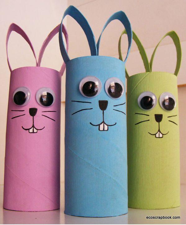 conejos de pascua - manualidad con rollos de papel WC