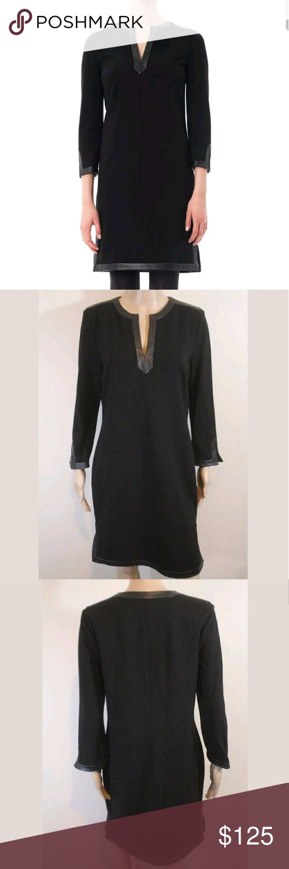 NWT Diane Von Furstenberg Dita Leather Shirt Dress Condition   - BRAND NEW WITH TAG STILL ON! RARE!  Noted Features   - Pulls on, stretchy ponte knit - Real soft leather trim, slits  Measurements   Bust: 18 1/2-24 1/2 inches across (37-49 around)  Waist: 17 inches across (34 around with room)  Hip: 20-26 inches across (40-52 around)  Length: 37 inches long  Sleeve: 20 inches long  Size    size 12  Material  71% viscose, 23% polyester, 6% spandex, combo is 100% leather Diane Von…