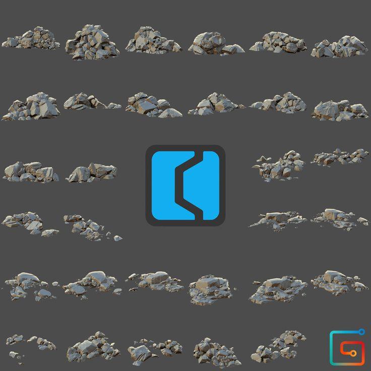Concept Kit - Rock Piles 1, Justin Owens on ArtStation at https://www.artstation.com/artwork/GdPWN