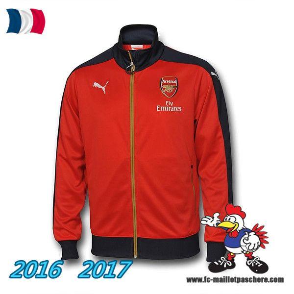 Les Nouveaux Veste Foot Arsenal Rouge/Noir 2016/2017 Pas Cher