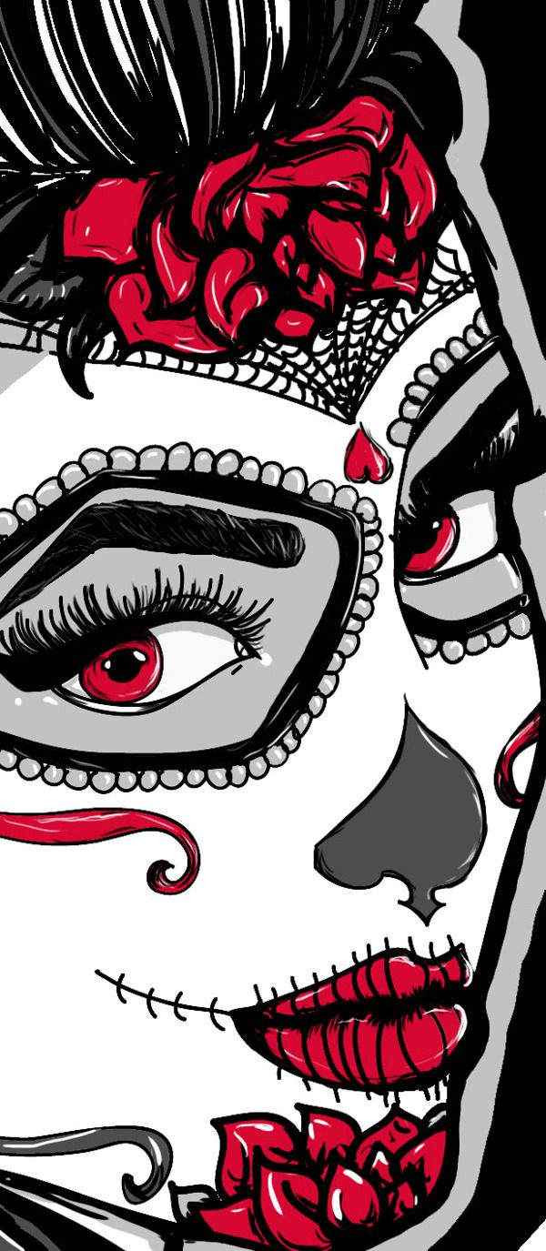 Day of the Dead Tattooed Rockabilly Vixen Shirt by Brittany Hanks, via Behance