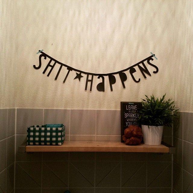 Kleinste kamertje gepimpt. Daar word je toch vrolijk van? #wc #letterbanner #fun
