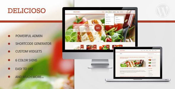 """""""Delicioso"""" WordPress Theme, the perfect taste for a restaurant."""