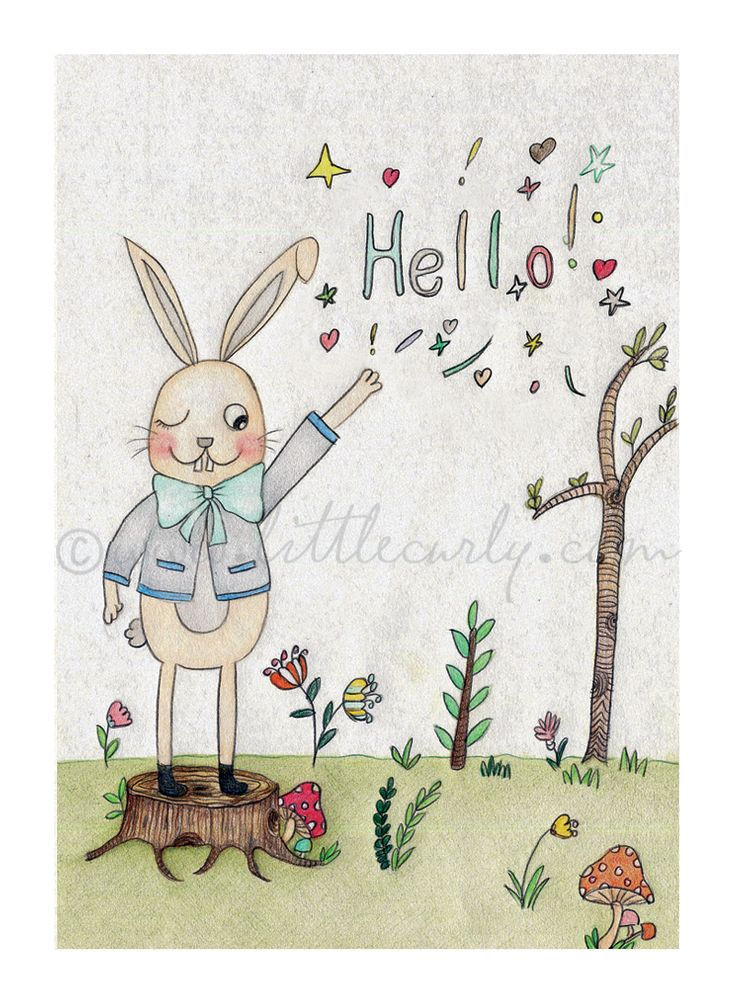 Hello, I'm Benny Bunny!  Art Print perfect for kids room or nursery decor