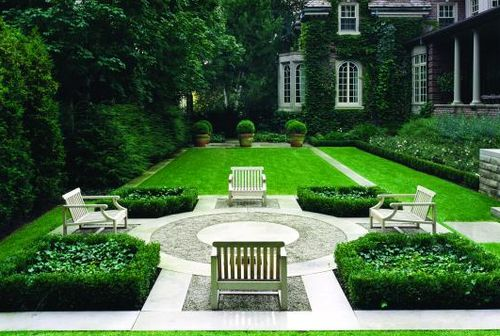 A symmetrical garden designed Canadian landscape architecture firm, Janet Rosenberg + Associates.