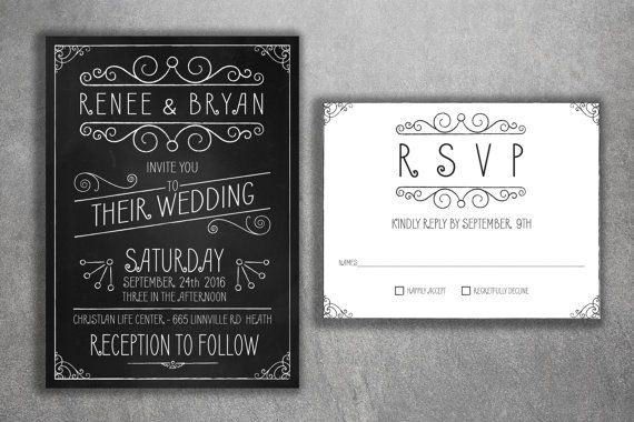 Cheap Wedding Invitations Set Printed  by Level33Graphics on Etsy