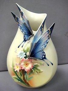 Franz Porcelain Fluttering Butterfly Vase Blue 1839   eBay