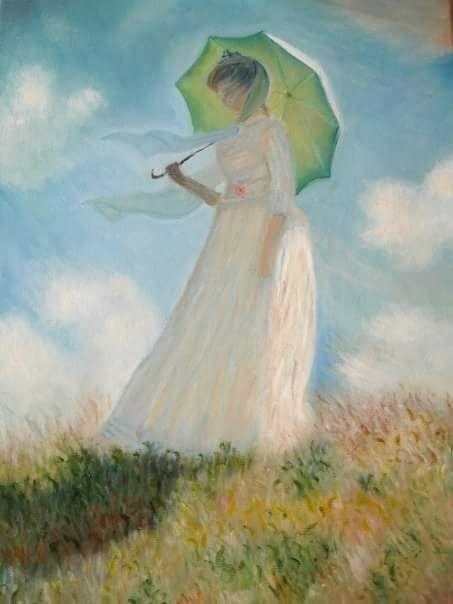 Monet - Donna col parasole girata verso sinistra - copia d'autore - olio su tela - misure: 40 x 60 cm. - anno: 2008 - Collezione privata. #art #monet #paintings