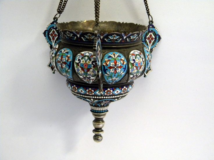 ANTIQUE RUSSIAN SILVER & ENAMEL LAMP / INCENSE HOLDER c. 1890 N. ANTIPOV
