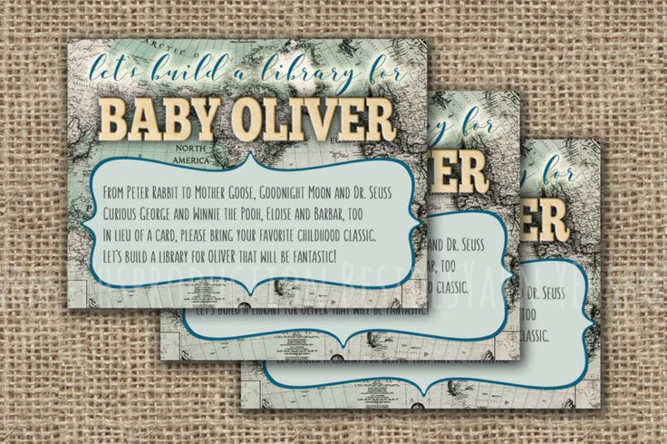 CUSTOMIZED Bring a Book Instead of a Card Baby Shower Insert, Welcome to the World Printable with Vintage World Map, Antique Baby Shower DIY - pinned by pin4etsy.com