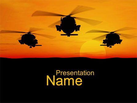 http://www.pptstar.com/powerpoint/template/helicopters-at-sunset/ Helicopters at Sunset Presentation Template