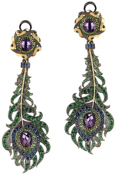 A Pair of Tsavorite, Sapphire and Amethyst Ear Pendants. Each suspending an articulated feather drop, accented by circular-cut sapphires, tsavorite and vari-cut amethyst, from a similarly designed surmount, mounted in 14K yellow gold, length 3 1/4 inches.Signed 'AF' for Axenoff Jewelry, with Russian assay marks, with an original box. Via Philips.