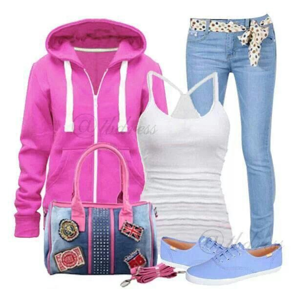 Pink sweatshirt outfit
