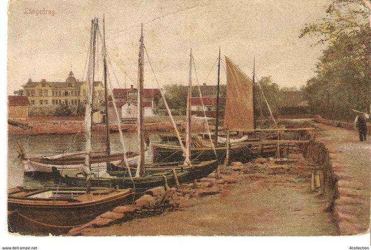 Antique Sweden Brevkort Postcard posted Goteborg LANGEDRAG - boat yacht