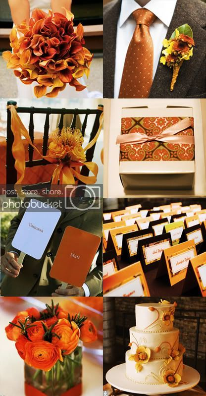 brown, cream and orange/burnt orange mood boards – wedding planning discussion f…