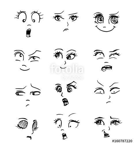 Cartoon emoties van gezichten. Ogen en wenkbrauwen zorgen voor een groot deel voor gezichtsuitdrukkingen. #tekenen #cartoon #kunst #ogen #striptekenen
