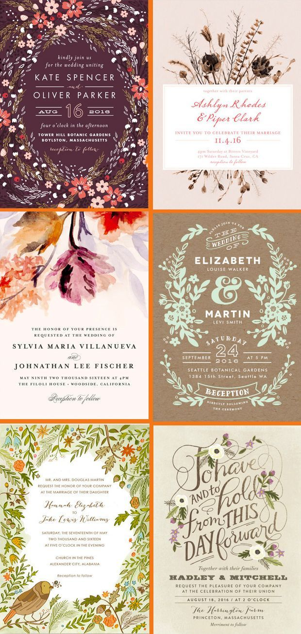 how much do invitations for wedding cost%0A   beautiful Floral Fall Inspired Wedding Invitations from the  Minted  community of artists