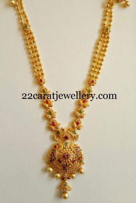 Simple Fancy CZs and Peacocks Haram - Jewellery Designs