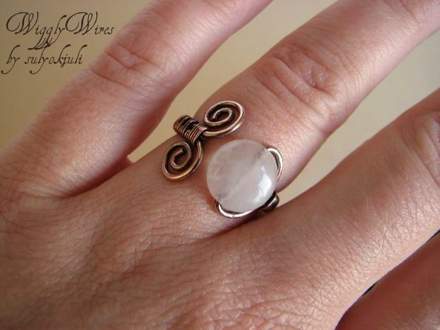 Copper Wire and Rose Quartz Ring