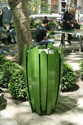 """Elegant botanical-themed trash and litter receptacles in Bryant Park, NYC designed by Ignacio Ciocchini. Click image for details and visit the Slow Ottawa """"Streets for Everyone' board for more beautiful urbanism."""