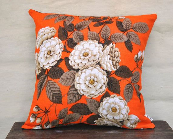 Bright dahlias to liven up any room! Neutral dahlias on a bright orange background. Made with a vintage Irish linen tea towel, new unused