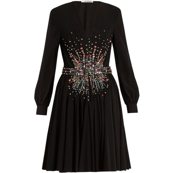 Miu Miu Plunging embellished silk mini dress (€5.655) ❤ liked on Polyvore featuring dresses, black multi, silk cocktail dress, long sleeve dress, little black dress, holiday cocktail dresses and short cocktail dresses