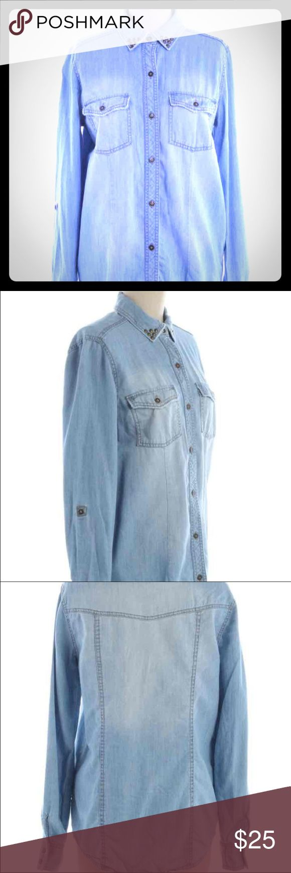 """Rock & Republic button down Chambray Rock & Republic button down Chambray Shirt. Has bejeweled brassy gold beads on the collar. Can also be turned into a 2/3 rd's length sleeve shirt. Cotton & Machine Washable.  Bust- 34"""" Waist- 32"""" Sleeve Length -24"""" Length -35"""" Rock & Republic Tops Button Down Shirts"""