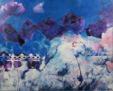 Carolina Paulussen - Blauwe rozen - 130 x 160 - acryl op doek