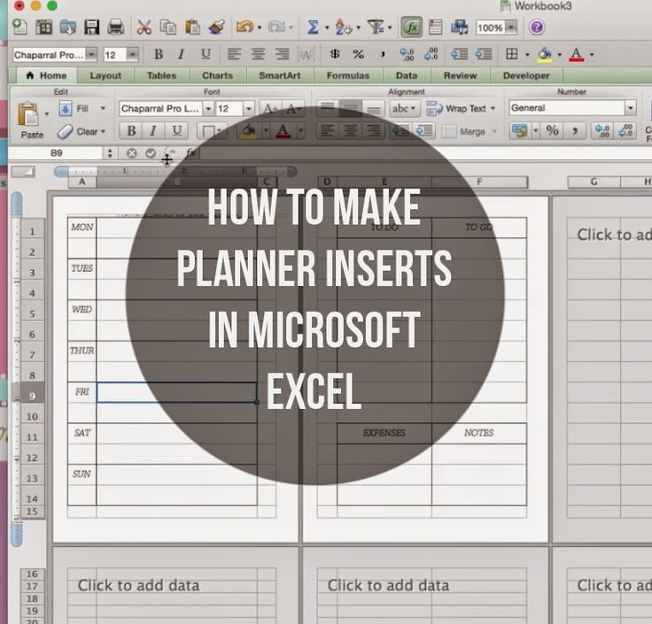 MsWenduhh Planning & Printing: How to Make Inserts using Microsoft Excel